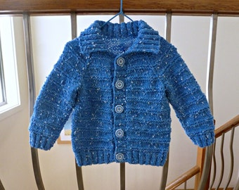 Hand knitted blue baby cardigan, boy sweater, childrens clothing, 6 -12 m