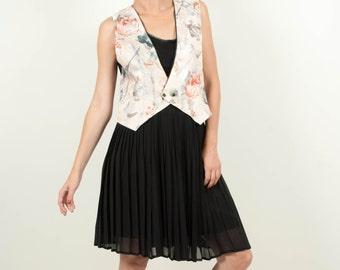 Vintage silk vest black beige women size small