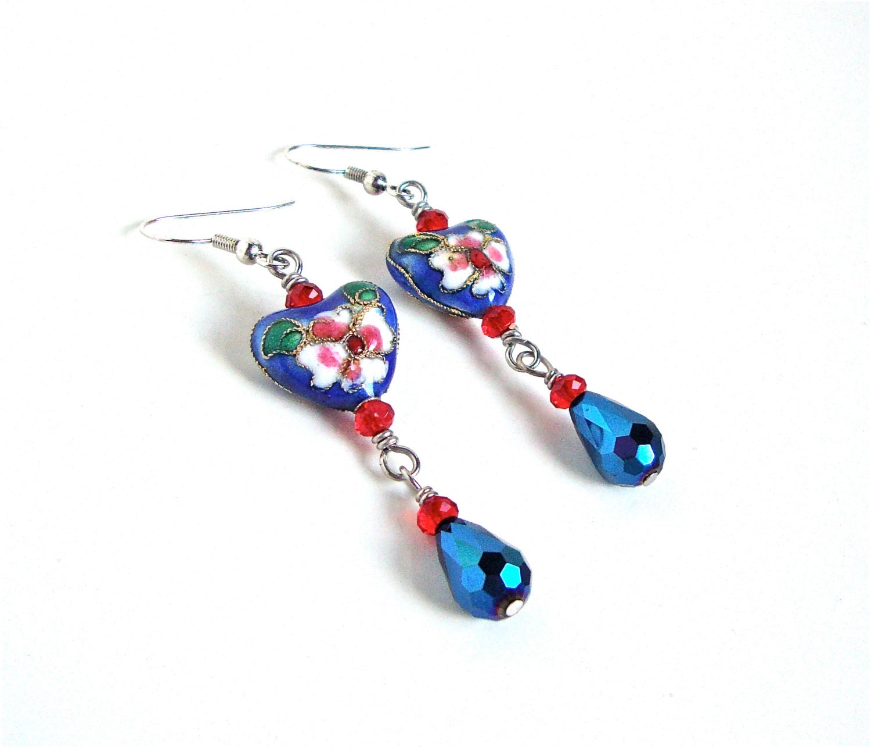 blue earrings sparkly blue by sparklecityjewelry