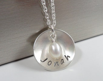 Sterling Silver Mommy Necklace with your choice of Freshwater Pearl or Birthstone Crystal - Hand Stamped Domed Disc Necklace