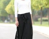 Black boho Ethnic Linen  Wide Leg Pants skirt C289