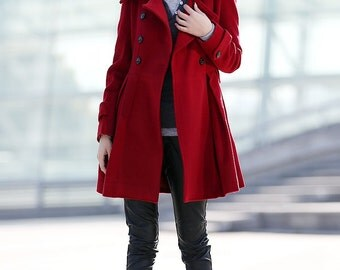 Red jacket women double breasted wool coat-CF050