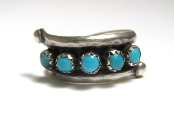 Silver and 5 Stone Turquoise Ring Size 6
