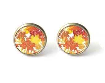 Fall Leaves Earrings - Autumn Leaf Earrings - Stud Earrings - Fall Jewelry - Red Leaf Earrings - Fall Leaf - Fall Post Earrings