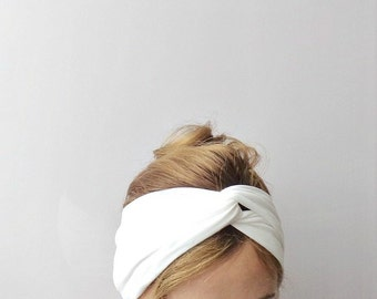 White twist headband turban stretch head band jersey knit head wrap retro cream ivory cotton head covering winter fashion pin up snow