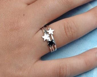 Sterling Silver Star Rings Trio - tiny star rings