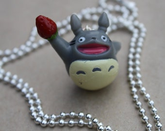 Strawberry Totoro - Plastic Pendant on 60cm Shiny Silver Ball Chain