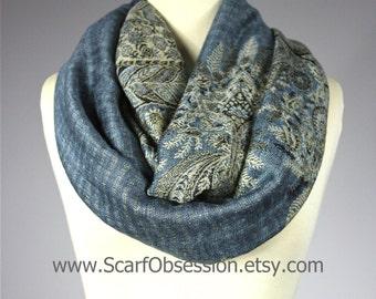 Fern infinity scarf in Bluish Gray , winter scarf