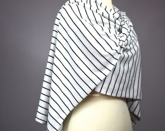Long striped scarf, White and Black scarf, oblong scarf, scarf wrap