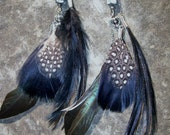Black and White Shimmering Fly-away  Feather Earrings
