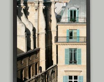 Paris architecture photography, large wall art, paris architectural print, Paris windows, living room french decor, 12x18, 16x24, 20x30 art