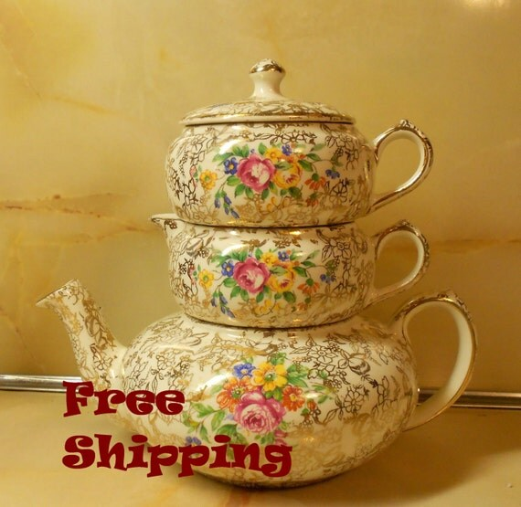 Vintage Teapot Creamer Sugar Bowl Set - Lord Nelson Ware - 4 Pieces/Stackable/English/Gold Chintz/Floral/Ships Free L48 USA - BreezyJunction