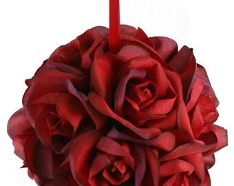 Garden Rose Kissing Ball - Red - 6 inch Pomander