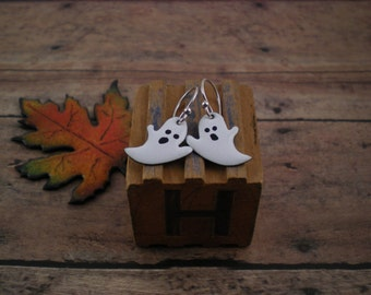 Enamel Ghost Earrings with Sterling Silver Artisan