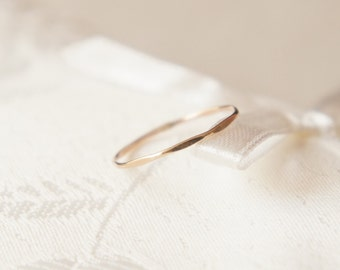 Flat Hammered 14k Gold Filled stack skinny ring- made to order- modern minimalist jewelry for everyday by noa noa