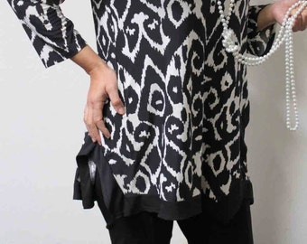 Asymmetrical Designer latest Print Plus Size tunic top from L To 3XL