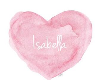 Pink Nursery Art, Children's Art, Personalized Baby, Watercolor Heart, Baby Girl Gift, 8x10, Girl Shower Gift, Baby Girl Decor, Custom Name