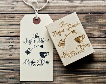 The Perfect Blend Wedding Stamp, Tea Favor Rubber Stamp, Tea Party Stamp, Wedding Favor Rubber Stamp