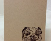 Personalized Hand Stamped English Bulldog Or French Bulldog Card Set of 4/ You choose the stamp and name