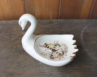 Vintage Swan Trinket/Ring Dish w/ Butterfly