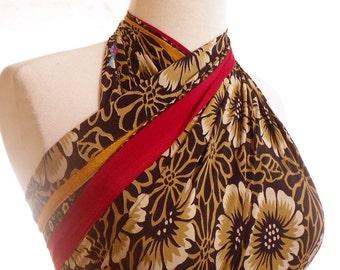 Large Floral Scarf, Black and Gold Wrap, Vegan Silk Sarong, Beach Wrap, Tropical Pareo, Vintage Sari Scarf