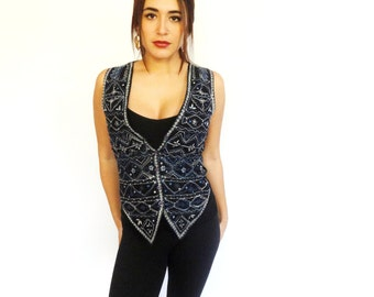 vintage African patterned blue, white & red stitched button down layering vest - xs - small