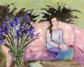 Girl with Iris card 5x7, figures, pink, purple iris, flowers in a vase, floral, women, indoors, woman seated, sitting, couch, painting, art
