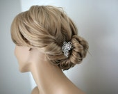 Leah - Vintage style Wedding hair comb, bridal hair accessories, wedding rhinestone hair comb, bridal hair comb -Made to order