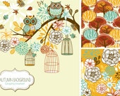 Fall Clip Art, autumn clipart, thanksgiving, Owls Clipart, flowers, digital papers, birdcages, leaves, scrapbooking, Small Commercial Use.