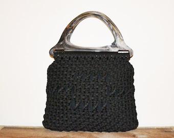 Vintage Black Clutch Purse Macrame Purse Boho Purse 70s Clutch Purse Black Purse Hippie Purse Accento Craft Purse