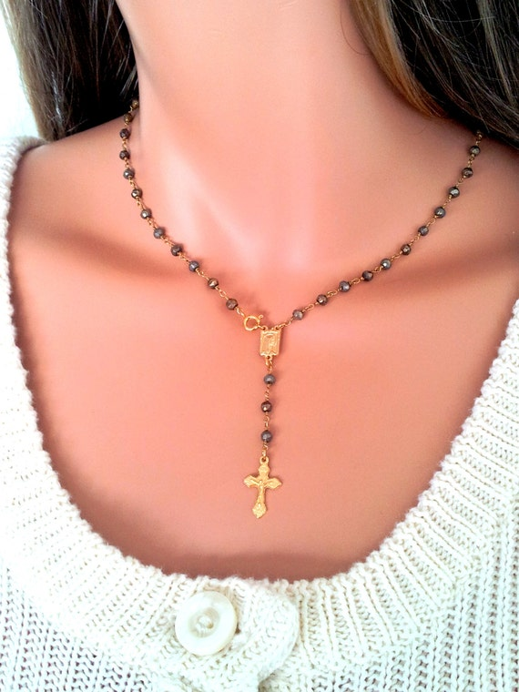 Rosary Inspired Necklace Pyrite Gold Rosary Necklace