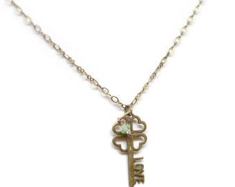 Lucky Four Leaf Clover LOVE Necklace - Swarovski Crystal