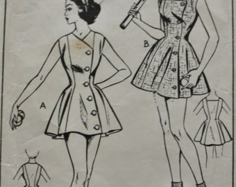 1940s TENNIS Dress Sewing Pattern /Style 1039 /Sleeveless /High V Neckline or Square Neckline /Bust 38