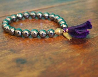 Hematite Gemstone Mala Bracelet Hematite 21 Bead Crystal Prayer Beads Silver Tassel Bracelet Yoga Jewelry Spiritual Meditation Tool