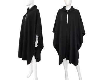 Valentino 1970s Vintage Knit Cape with Ribbed Collar Wool Coat Black Designer Fashion Outerwear Size S US 6-8