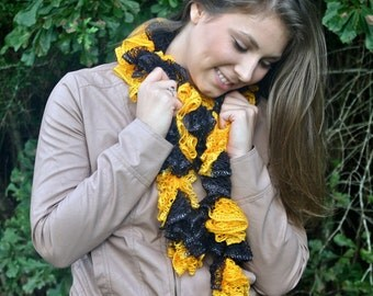 Extra-Long Crochet Ruffle Scarf - Black and Gold