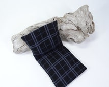 Hot cold eye pillow for men Black grey check flannel Flax seed filling Fragrance free