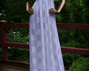 Bridal Nightgown in White Mesh Floral Lace and Hand Embroidery Grecian Design