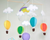 colorful hot air balloons baby mobile - hot air balloons baby mobile - hot air balloons in the sky - up in the air - Nursery decoration