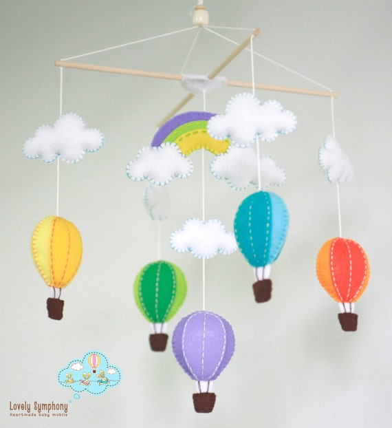 colorful hot air balloons baby mobile - hot air balloons baby mobile - hot air balloons in the sky