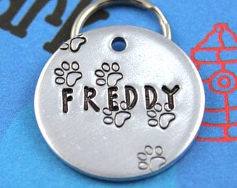 Dog Tag - Unique Metal Pet ID Tag With Paw Prints - Hand Stamped Custom Dog Name Tag