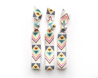 Tan Aztec Hair Tie Trio: 3 Elastic Handmade Hair Ties, Glitter,