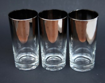 Vintage Sterling Silver Ombre Fade High Ball Liquor Glass Set Mad Men Mid Century Modern