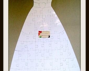 Wedding Dress Puzzle / White Puzzle Pieces / Wedding Guest Book Alternative  / Blank Puzzle Pieces / Unique Wedding Guest Book / 30x22 in.
