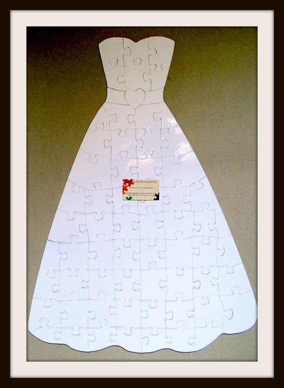 Wedding Dress Puzzle / White Puzzle Pieces / Wedding Guest Book ...