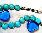 Turquoise Necklace Blue, bohemian,  Natural Stones, Jewelry, Handmade, Beautiful.  Original Design and Handmade by JannasCraft at Etsy.