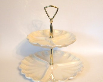 Vintage 2 Tiered Tidbit Cake Stand California Pottery Maddux Creamy White Iridescent Mid Century  Made in USA