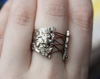 White Copper Corset Ring Wide