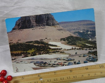 Glacier National Park Vintage Postcard with Oodles of Old Automobiles in the Parking Lot