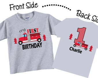 1st Birthday Shirts with Firetruck for Boys Tees